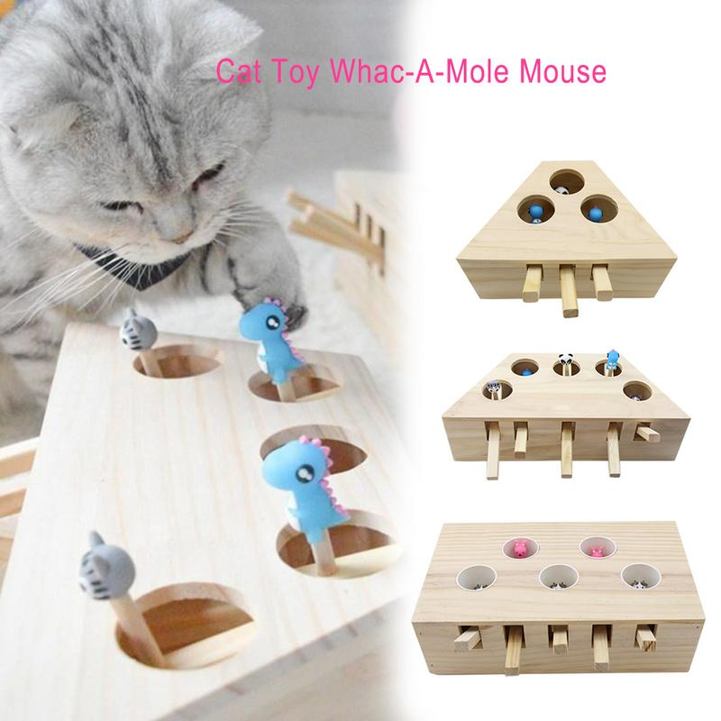 New Hamster Machine Funny Cat Toy Solid Wood Pet Supplies Whac-A-Mole Mouse