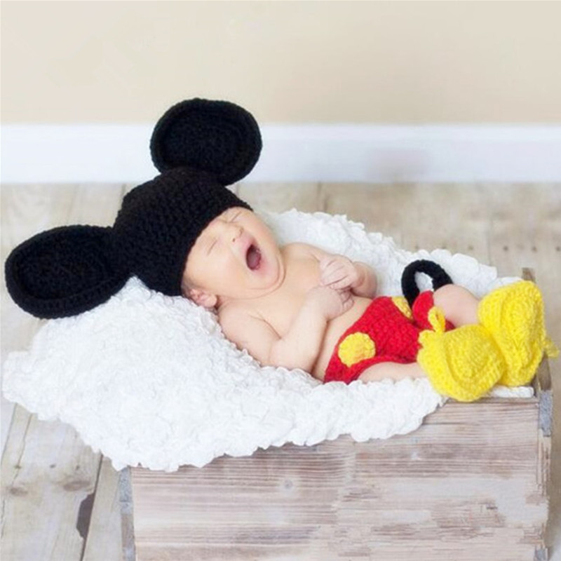 Newborn Photography Props Baby Hat+Shoes+Pants Set Newborn Crochet Knit Mickey Costume Baby Photo Props Fotografia Accessories
