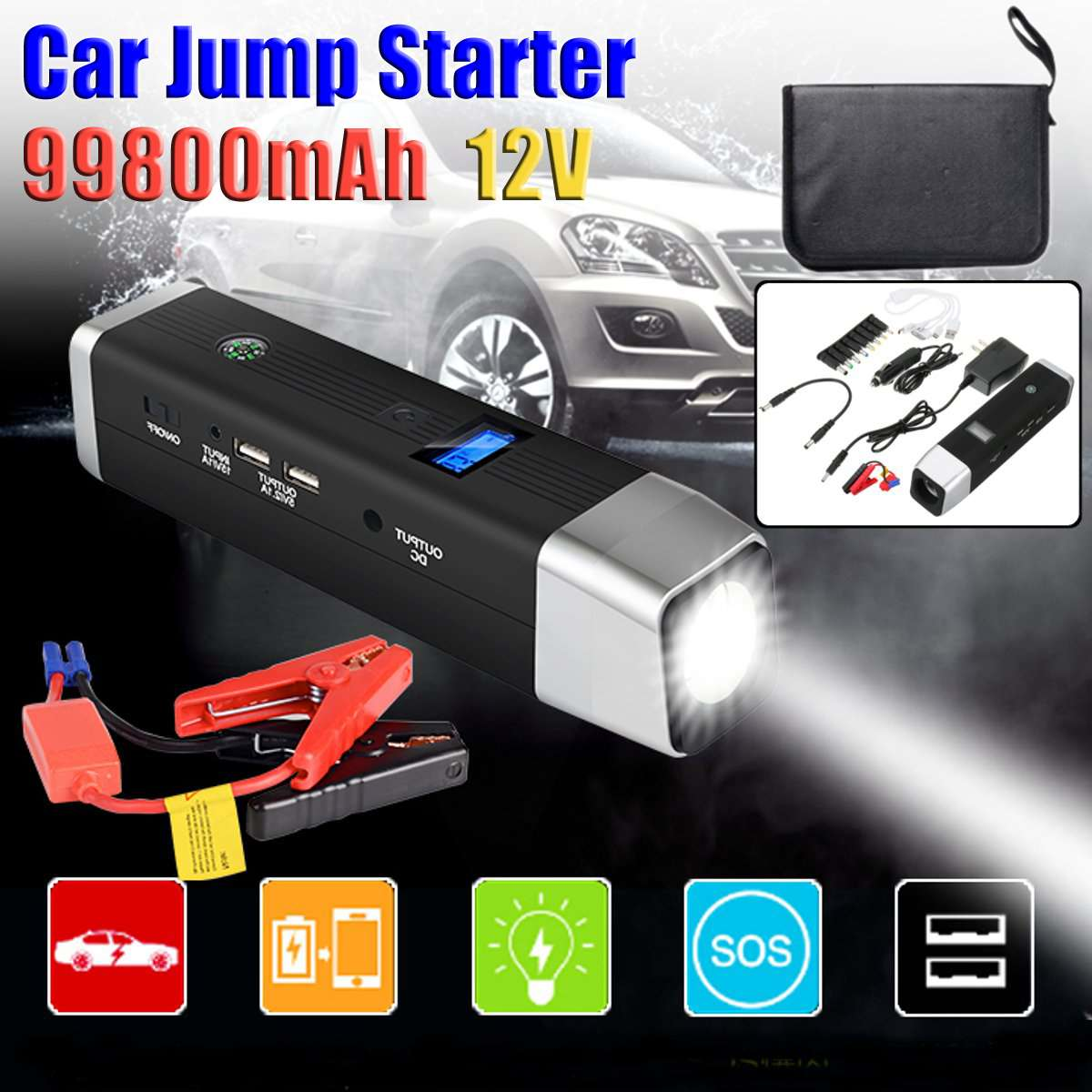 99800mAh USB 12V 600A LED Car Jump Starter Portable Charger Battery Power Bank Car Booster Starting Device emergency hammer99800mAh USB 12V 600A LED Car Jump Starter Portable Charger Battery Power Bank Car Booster Starting Device emergency hammer