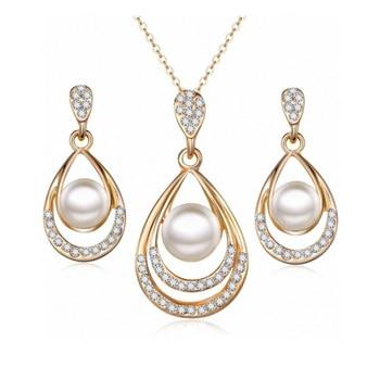 2019 nouvelle mode chaude mariée fête de mariage simulé-perle cristal goutte d'eau Chokers collier/boucles d'oreilles pour femmes ensemble de bijoux