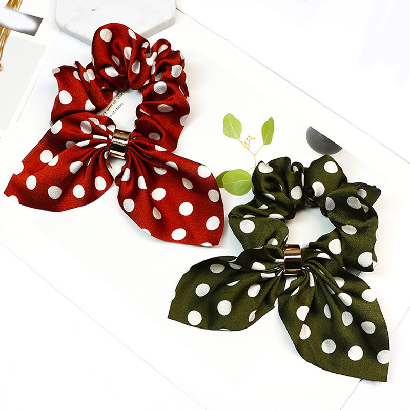 New 1PC Dots bow-knot Elastic Hair Bands Girl Hair Ring Scrunchies Ponytail Holder Rubber Band Women   Headwear