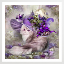 SepYue Diamond Painting Full Square 5D DIY Paint with Diamonds Mosaic Needlework Rhinestone Embroidery Purple Cat Animal