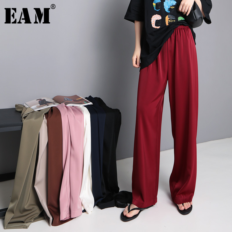 [EAM] 2019 New Spring Summer High Elastic Waist Black Leisure Long Loose   Wide     Leg     Pants   Women Trousers Fashion Tide JU003