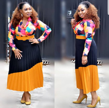 2018 autumn sexy fashion african women plus size printing dress