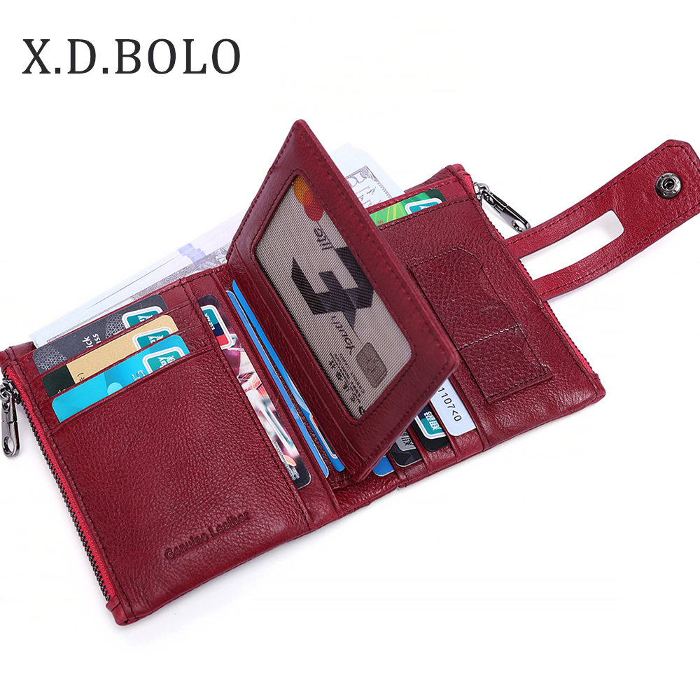 BOLO 2018 Women Wallet Purse Female Short Wallet Red Leather Pouch Handbag For Women Coin Purse Card Holders Portefeuille Femme