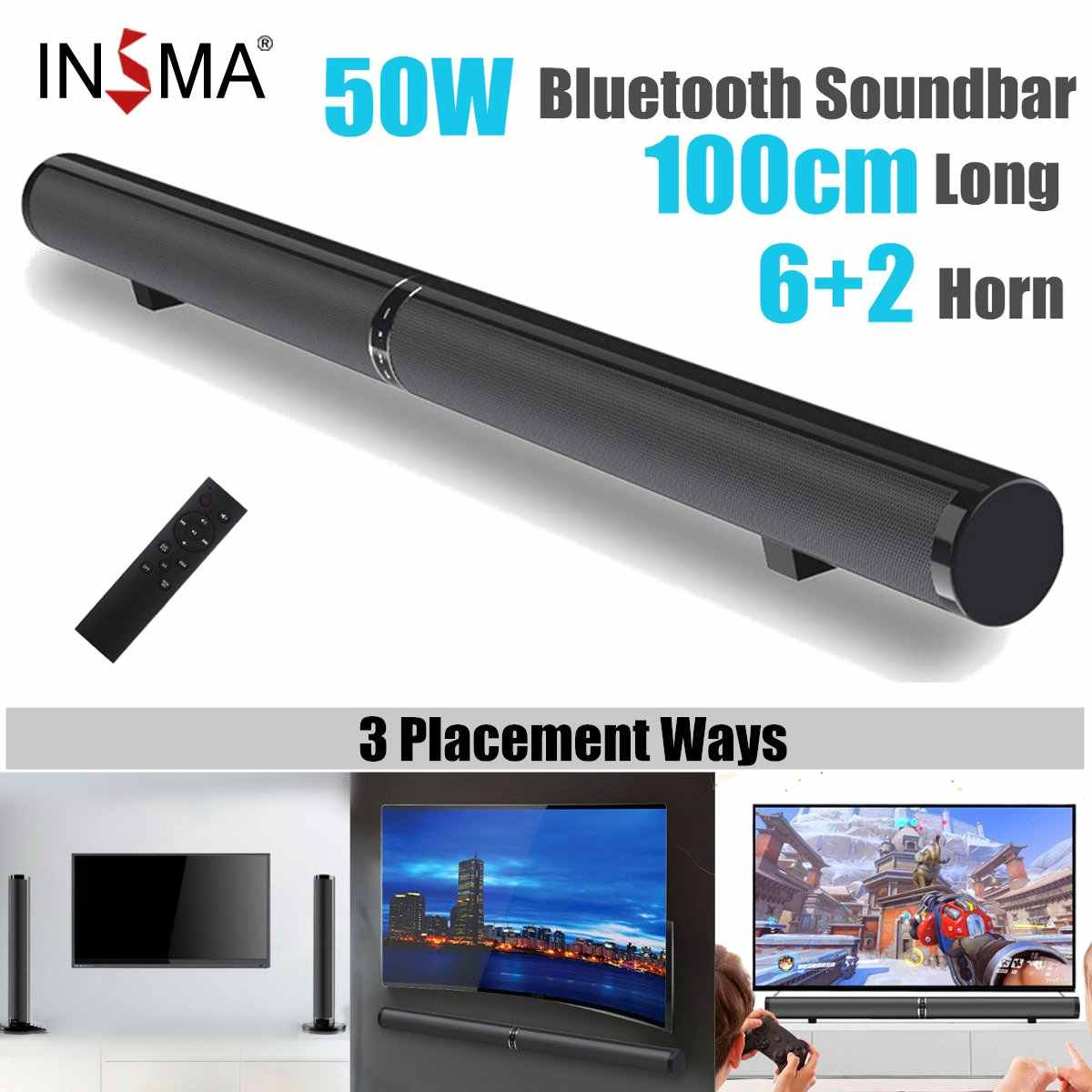 50W 100cm HiFi Abnehmbare Drahtlose bluetooth Soundbar-lautsprecher 3D Surround Stereo Subwoofer für TV Home Theatre System Sound bar