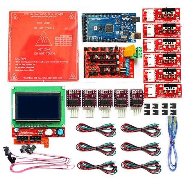 PPYY nouveau-1.4 Kit avec + Heatbed Mk2B + 12864 contrôleur Lcd + Drv8825 + commutateur mécanique + câbles pour imprimante 3D
