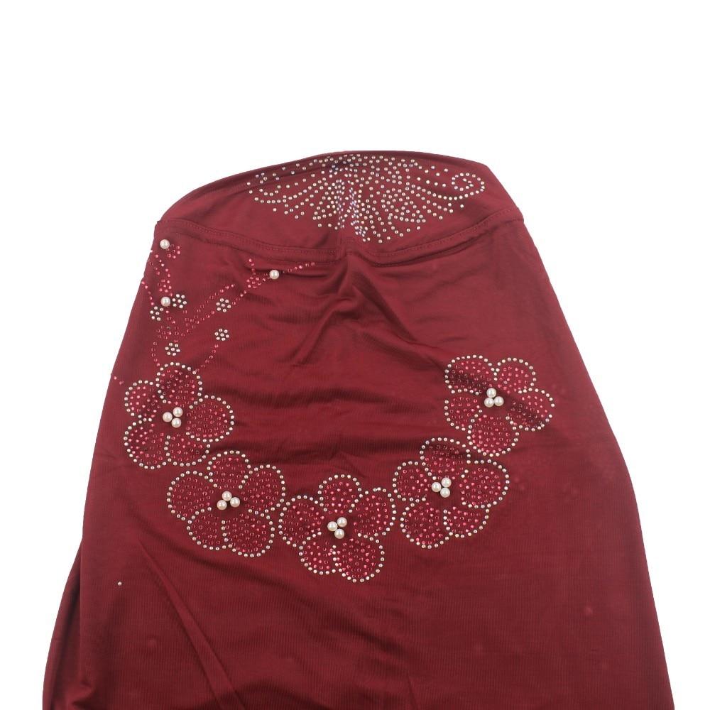 Image 5 - Muslim Women Hijab Islamic Scarf Woman Amira Cap Full Cover  Headwear with Flower Diamond PatternIslamic Clothing