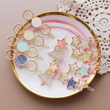 ncmama Japan Korea Fashion Women Hair Clips Metal Round Star Alloy Barrettes Hairgrips Pins for Girls Accessories