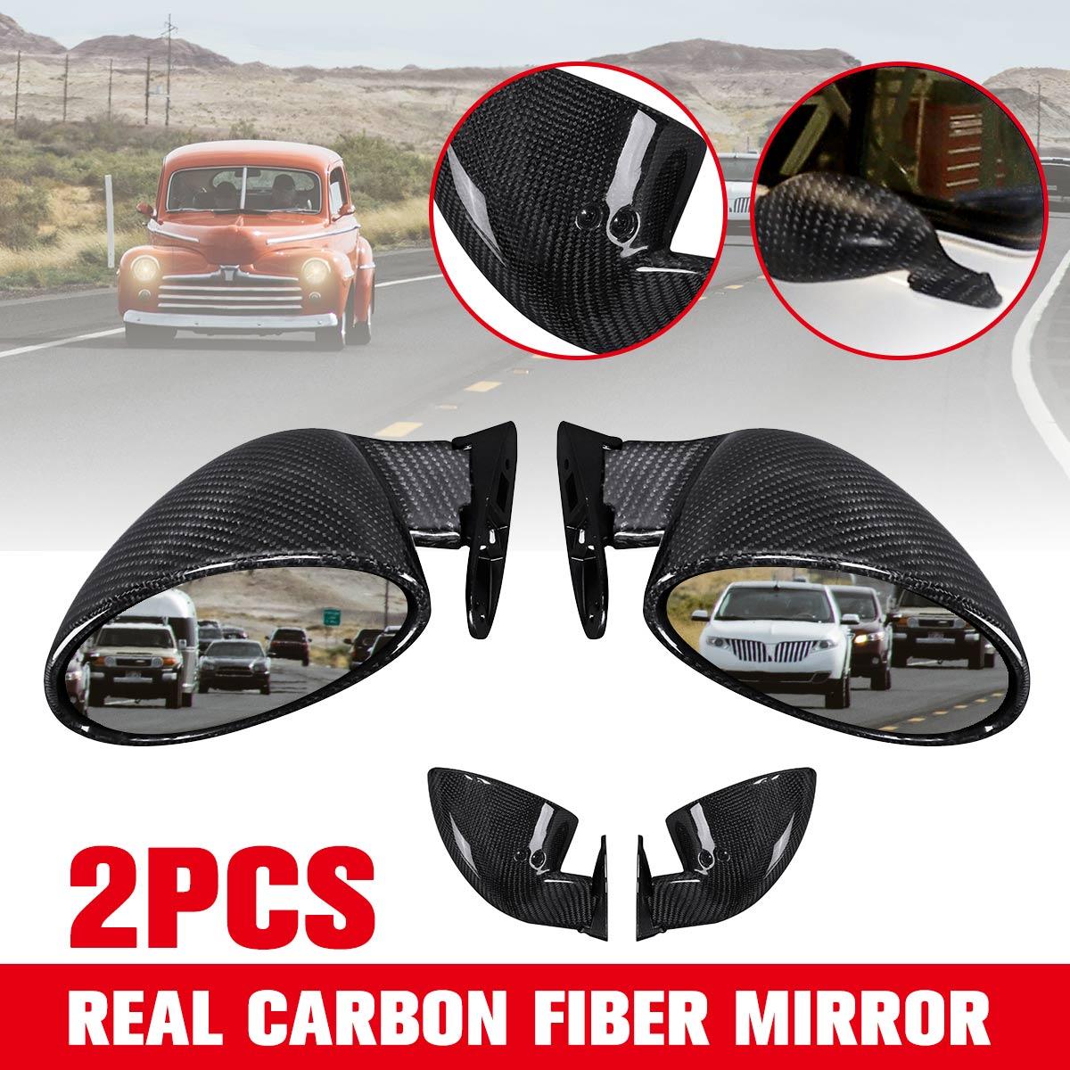 1 paire Universel Full Carbon fibre Californie Style De Voiture Porte Côté Miroir Rétroviseur Classique Rétro Vintage Hot Rod Auto Partie
