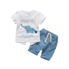 Summer Children Boys Girls Clothes Suits Baby Elephant Pattern T-shirt Pants 2Pcs/sets Kids Cotton Tracksuits Toddler Outfits недорого