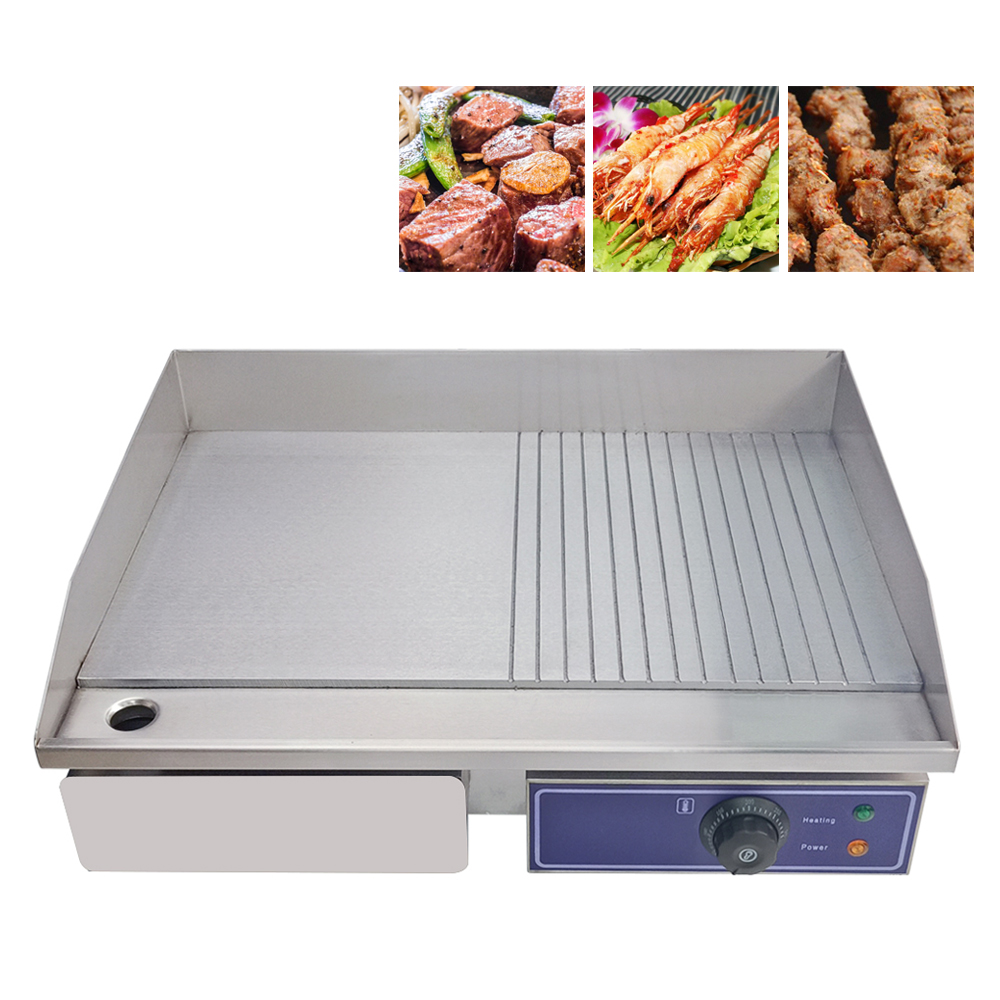 US $79.0 |Hot Sale Electric Grill with CE approved Upgraded Iron Flat Fried  Pans Commercial Grills Half Flat plate For Kitchen BBQ-in Electric Grills  ...