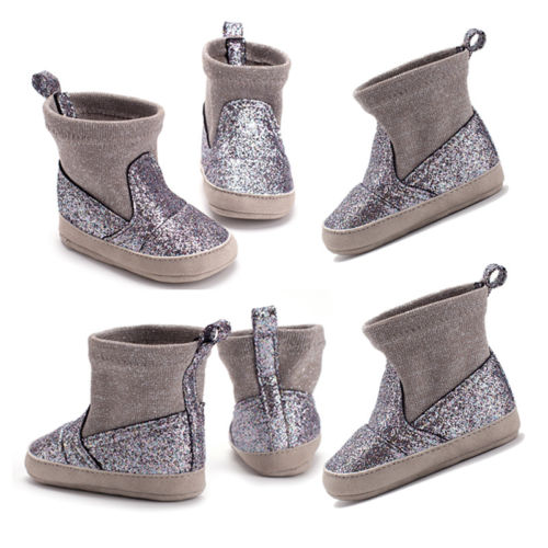 Newest Glitter Baby Girl Snow Boots Infant Mid-Calf Winter Warmer Shoes Newborn Fashion Princess Boots 0-18M