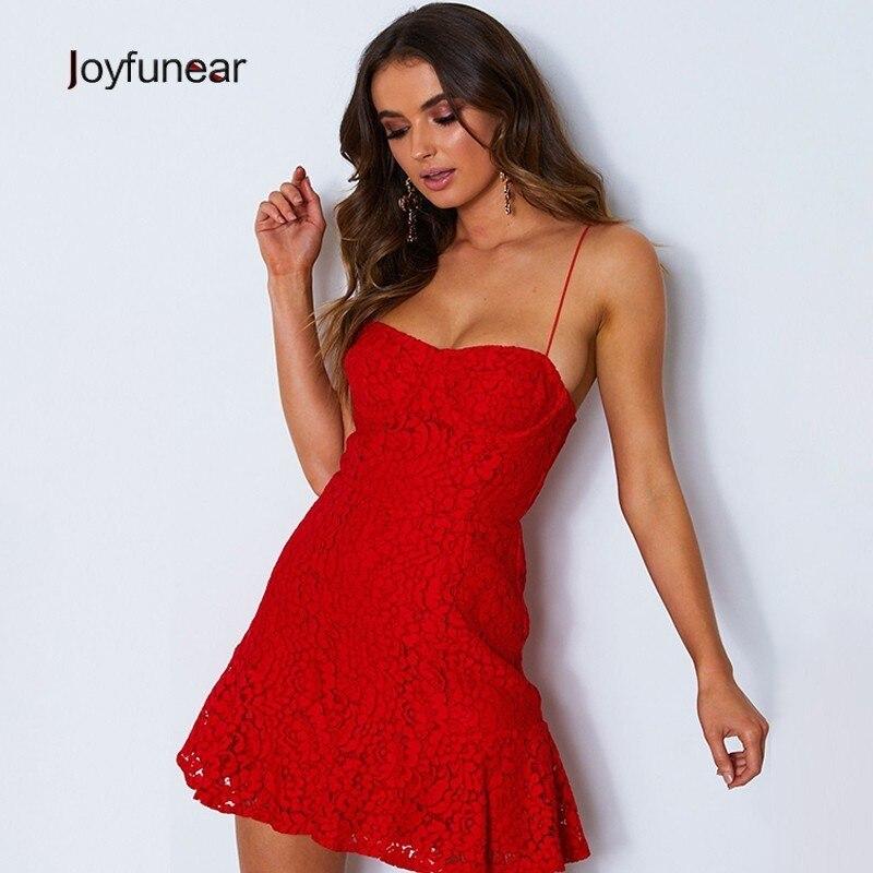 Joyfunear 2019 New Solid Sexy Lace Dresses Women Bodycon Strapless Sleeveless Summer Dress Elegant A-Line Trumpet Party Dresses