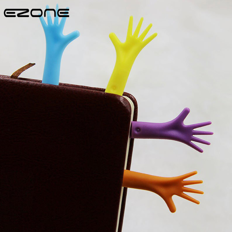 EZONE 4PCS Help Me Bookmarks Funny Creative Palm Book Clips Plastic Cartoon Bookmarks Students Favors Stationery Novelty Fashion