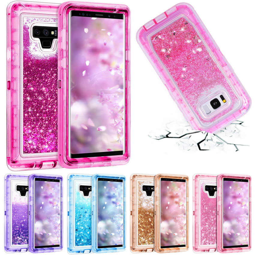3 en 1 paillettes 3D Bling étincelle coulant Quicksand liquide Transparent antichoc housse de protection pour Galaxy S10 S10 + Note 9 S9 + S8
