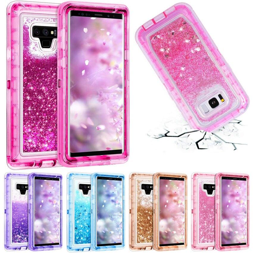 3 in 1 Glitter 3D Bling Sparkle Fließende Quicksand Flüssigkeit Transparente Stoßfest TPU Abdeckung Für Galaxy Note 9 Hinweis 8 s9 + S8 Fall