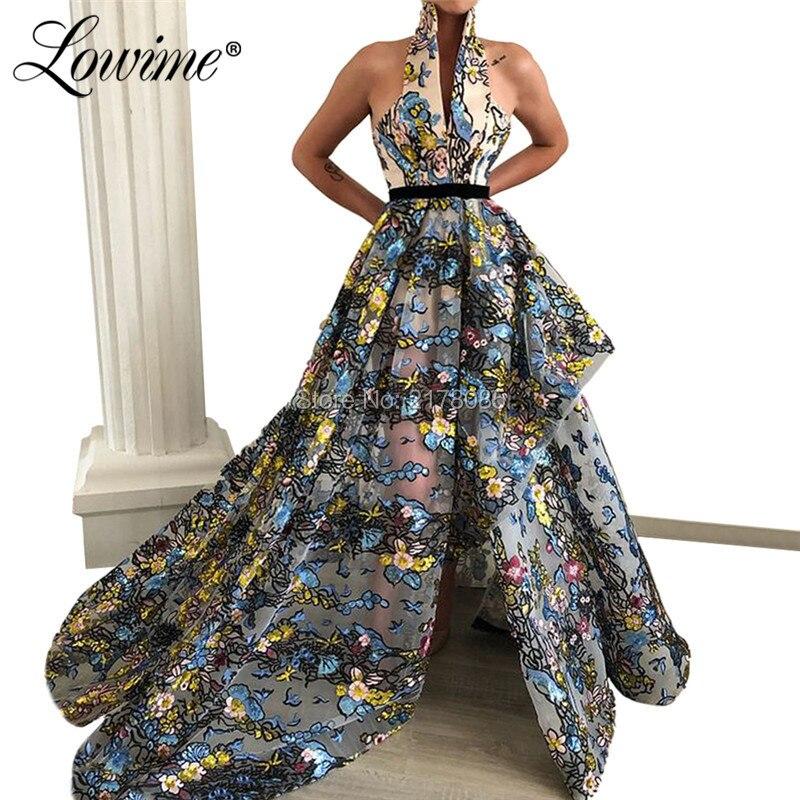 Long Sexy   Prom     Dresses   Elegant Evening   Dress   V-neck High Slit Saudi Arabia Party Gowns 2019 Moroccan Kaftan Robe De Soiree New