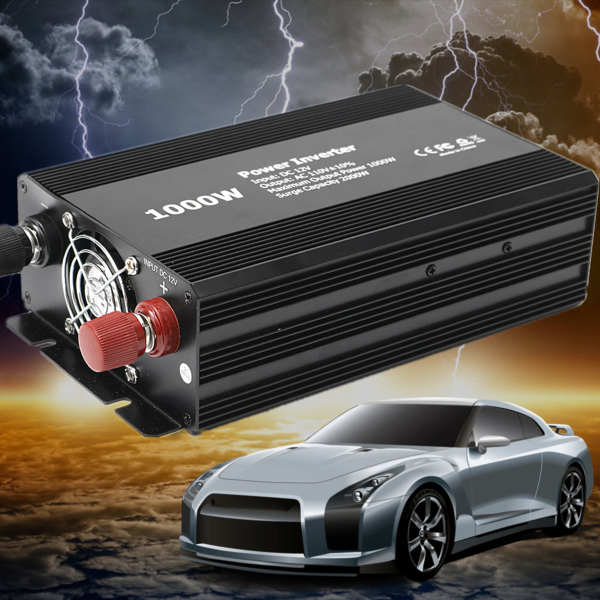 1000W-Peak Auto Car Power Inverter DC 12V to AC 110V Voltage Transformer Converter Charger Adapter Modified Pure Sine Wave1000W-Peak Auto Car Power Inverter DC 12V to AC 110V Voltage Transformer Converter Charger Adapter Modified Pure Sine Wave