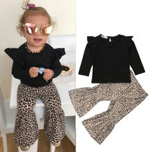 2018 New Toddler Kid Baby Girl Fashion Outfits Solid Fly Sleeve Tops Leopard Long Flared Pants 2Pcs Autumn Sets Clothes 9M-5Y цена и фото