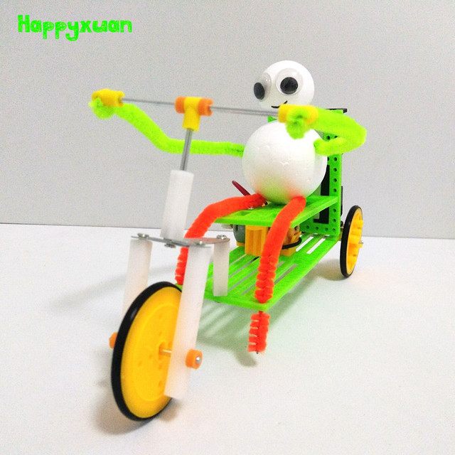 Happyxuan Fun DIY Inventions Science Kit for Kids Electric Toys Tricycle Model STEAM Education School Project Creative Boy