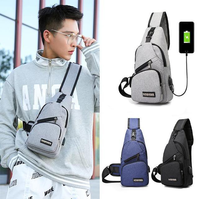 Male Shoulder Bags USB Charging Crossbody Bags Sports Canvas Outdoor Oblique Cross Messenger Bag Men Anti Theft Chest Bag
