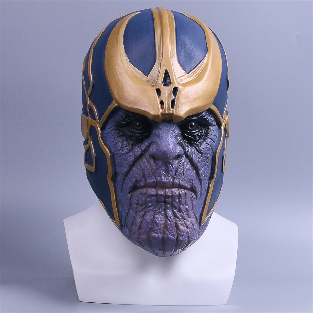 Mavel Avengers Infinity War Thanos Mask Cosplay Costume Props Full Head Latex Helmet Adults Halloween Headwear Masquerade Party