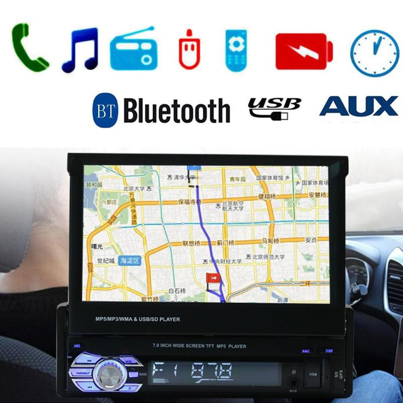 SWM In-dash 7in Car Video Player Touch Screen Bluetooth Car Stereo MP5 MP3 Player GPS FM Radio USB/TF/AUX Europe and America MapSWM In-dash 7in Car Video Player Touch Screen Bluetooth Car Stereo MP5 MP3 Player GPS FM Radio USB/TF/AUX Europe and America Map