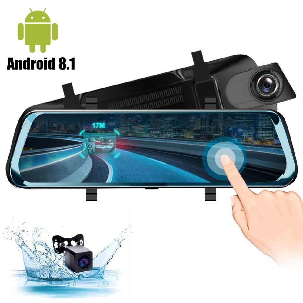 4g android 8.1dvr traço cam 10 polegada tela sensível ao toque espelho retrovisor dvr super noite 1080 p com câmera traseira gravador de vídeo