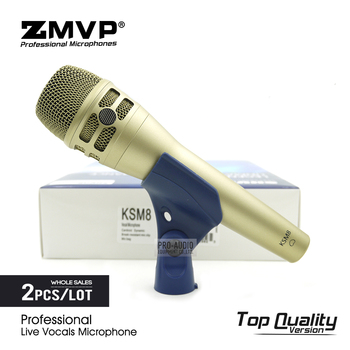 2pcs Top Quality KSM8 Professional Live Vocals Dynamic Wired Microphone Karaoke Microfone Super-Cardioid Podcast Microfono Mic