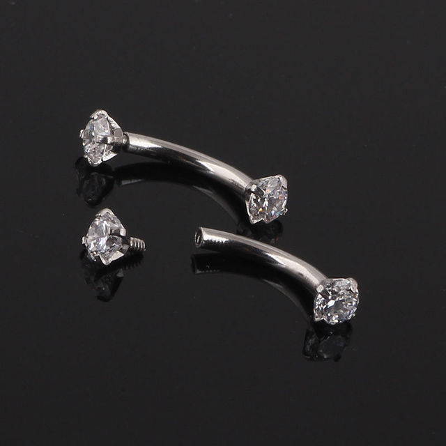 Zircon Internally Threaded 3mm Ball Barbell Curved Eyebrow Ring Bar Piercing Exaggeration Originality Piercing ornaments