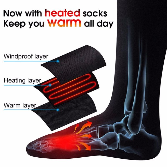 Electric Heating Sports Socks Warm Heated Socks for Winter Basketball Skiing Cycling Thermal Socks Foot Warmer Cotton Socks