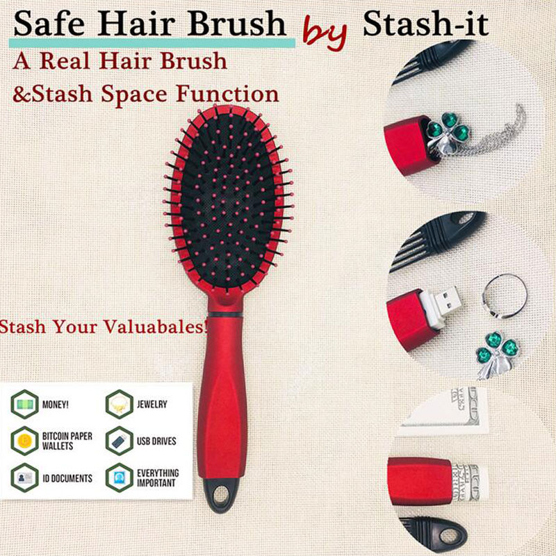 Real Hair Brush Comb & Secret Box Stash Space Hollow Container For Jewellery Money USB Storage Comb Safe Diversion Security