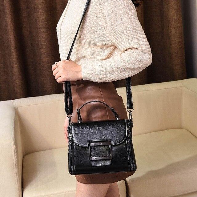 2020 Spring Real Genuine Leather Vintage Crossbody Tote Bag