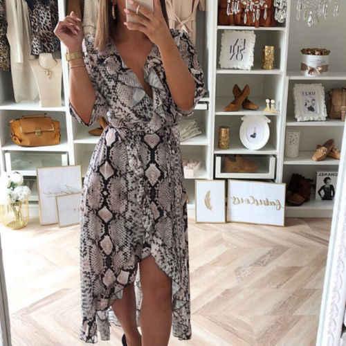 686ad59ac5 Plus Size Women's Ladies Dress Fashion Casual Floral Long Dress Split Leopard  Print Antural Party Beach