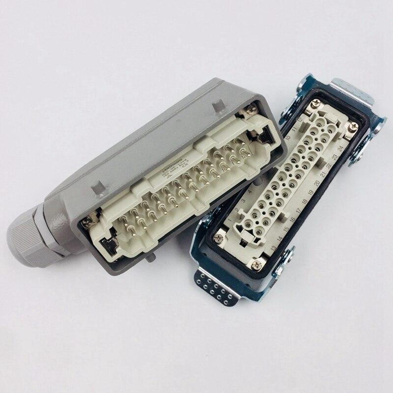 Rechthoekige H24B-He-024-1 Zware Connectoren Power 24 Pin Cores Lijn 16A 500 V Schroef Voeten Luchtvaart Stopcontact