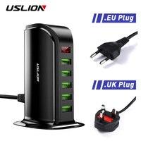 USLION 5 Multi Carregador Porta USB Hub Para O Telefone Móvel DA UE UK Plug Display LED USB de Carregamento do Desktop Dock Station carregadores|Carregadores de celular| |  -