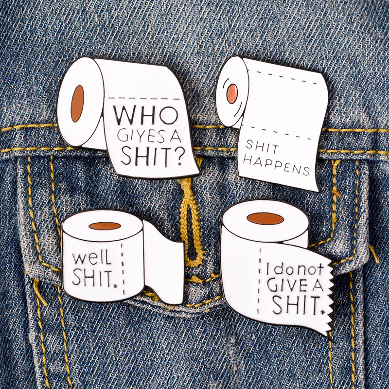 Apparel Sewing & Fabric Funny Shit Happens Roll Paper Enamel Lapel Pins Badges Brooches Jewelry Gifts For Cloth Backpack Accessories