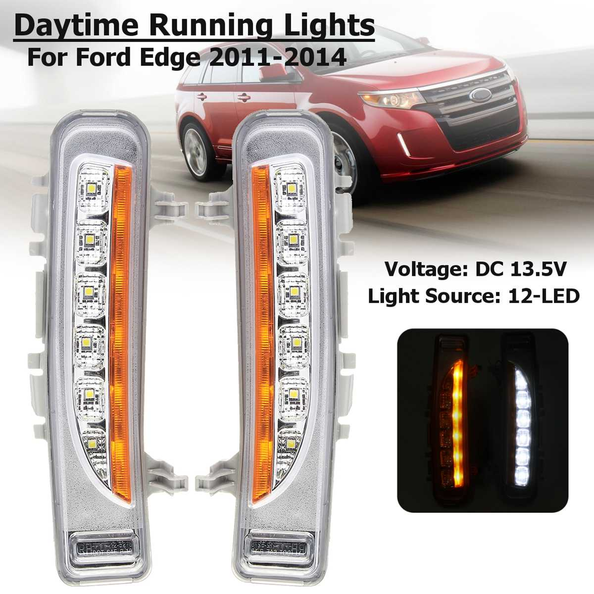 1 Pair Yellow And White 12-led Drl Daytime Running Turning Signal Flashing Lights Signal Waterproof For Ford Edge 2011 12 13 14