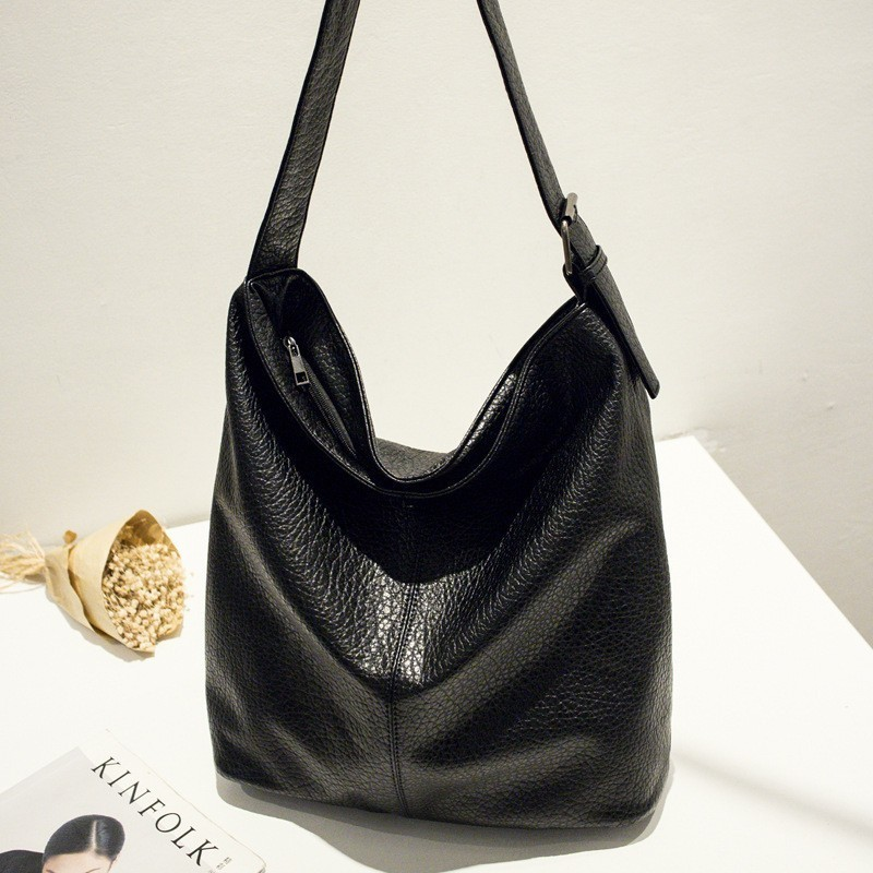 Black Hobo Bags Women Big Handbags Soft Pu Leather Shopper Bags Tote Large Capacity Casual Single Shoulder Bag Ladies