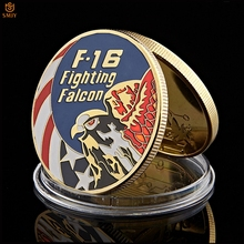 American Gold Coin USA Lockheed F-16 Fighting Fighter Metal Military Coin US Air Force Challenge Coin Collection force f 677
