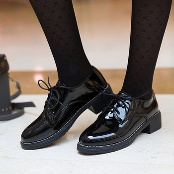 Women Flats New British Style Oxford Shoes Casual Lace Up Pu Female Creepers Zapatos Mujer Ladies
