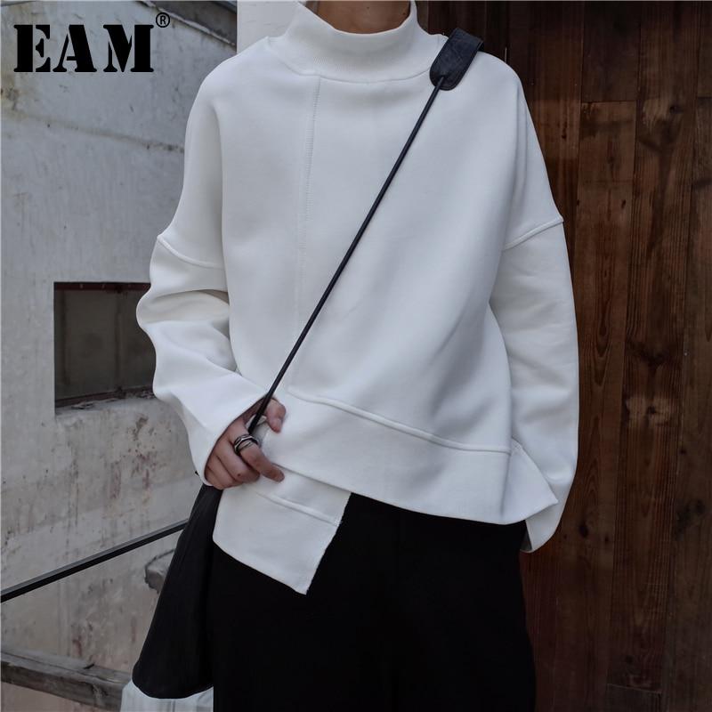 [EAM] 2019 New Spring High Collar Long Sleeve Black Loose Irregular Hem Large Size Sweatshirt Women Fashion Tide JK800