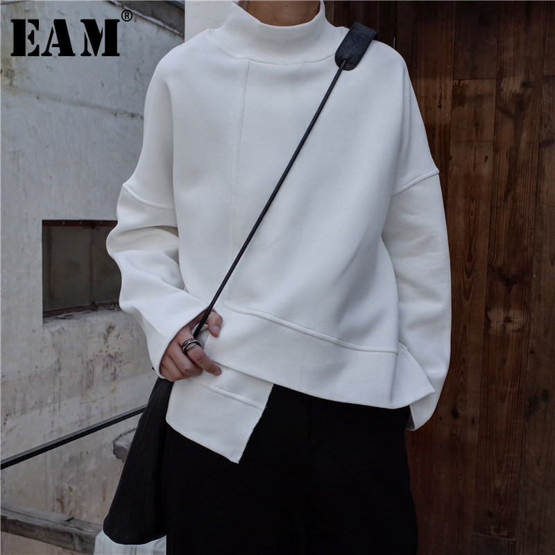 [EAM] 2020 New Spring High Collar Long Sleeve Black Loose Irregular Hem Large Size Sweatshirt Women Fashion Tide JK800