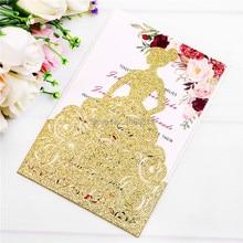 PONATIA Роскошное Свадебное приглашение карты красивая девушка платье для девушки 15 Quinceanera помолвка Свадьба(золотой блеск