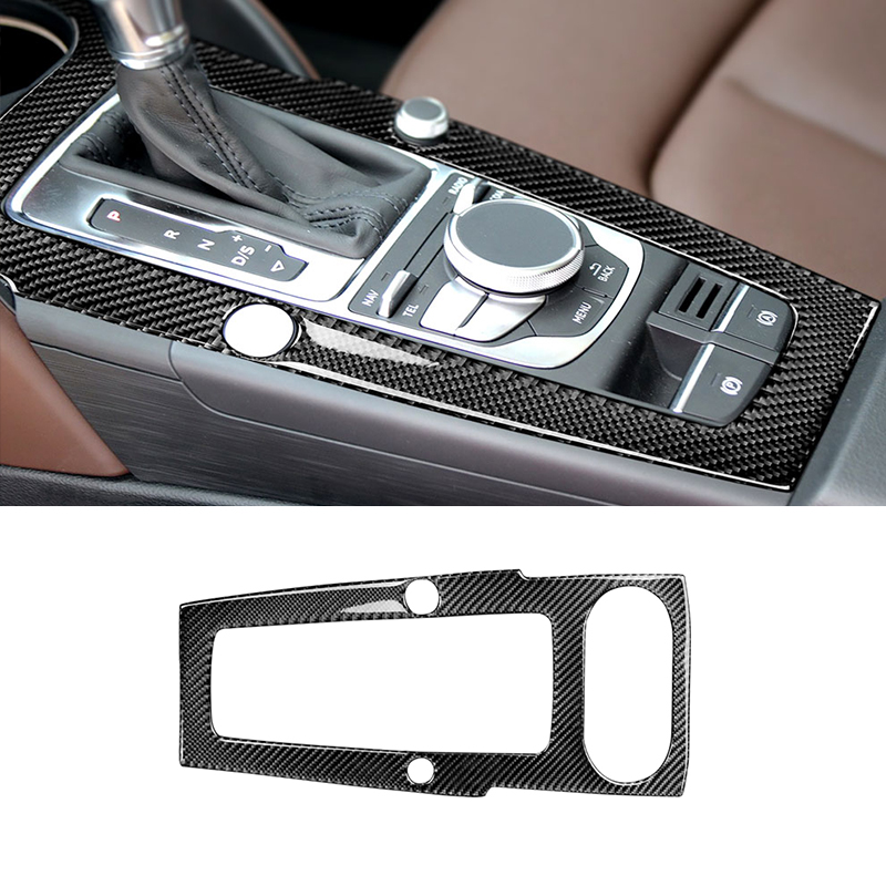 Image 2 - For Audi A3 2014 2015 2016 2017 Car Carbon Fiber Center Control Gear Shift Panel Cover-in Interior Mouldings from Automobiles & Motorcycles