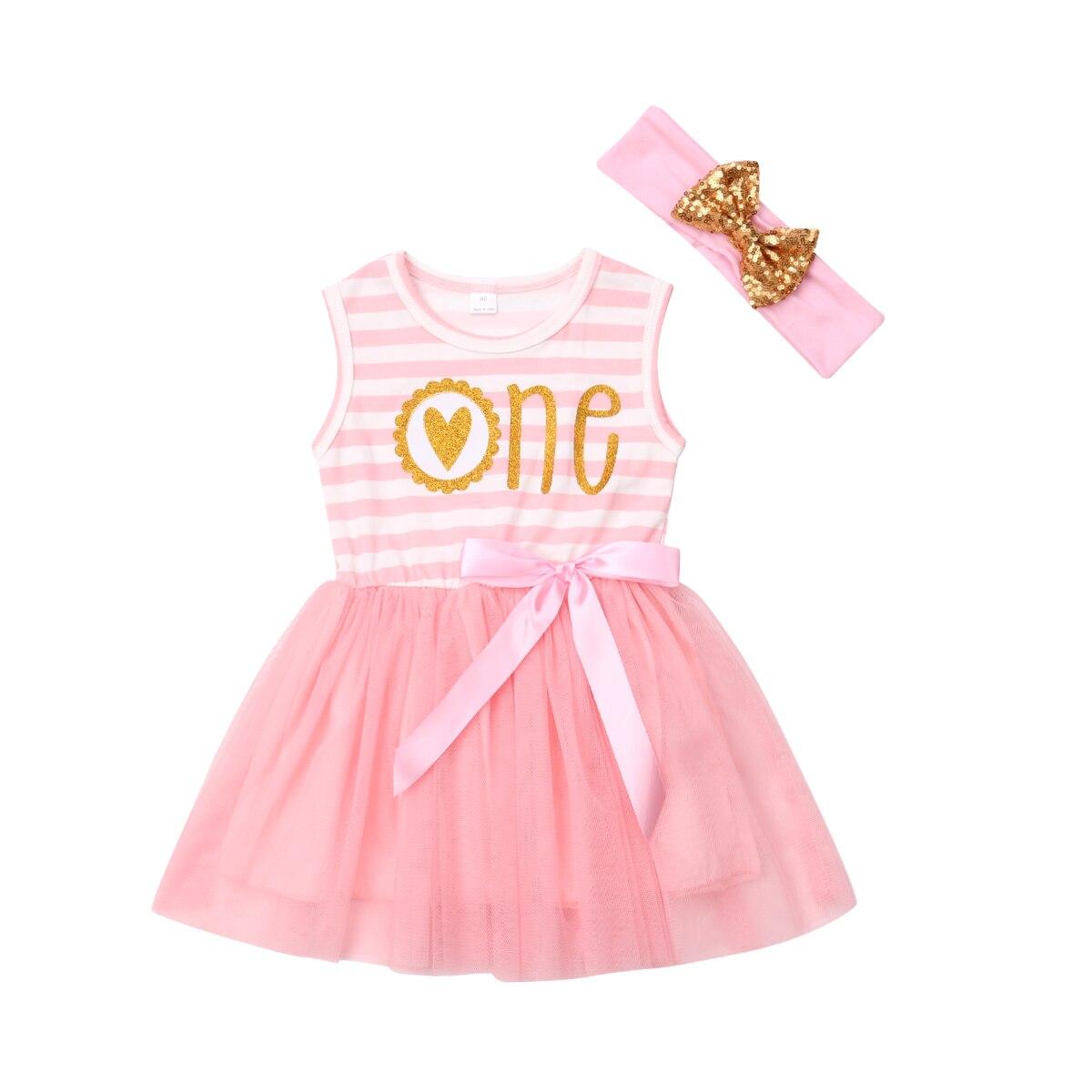 0-2 T Prinzessin Kinder Baby Mädchen Tutu Party Ärmel Gestreiften Kleid Prom Kleid Stirnband Geburtstag Geschenk