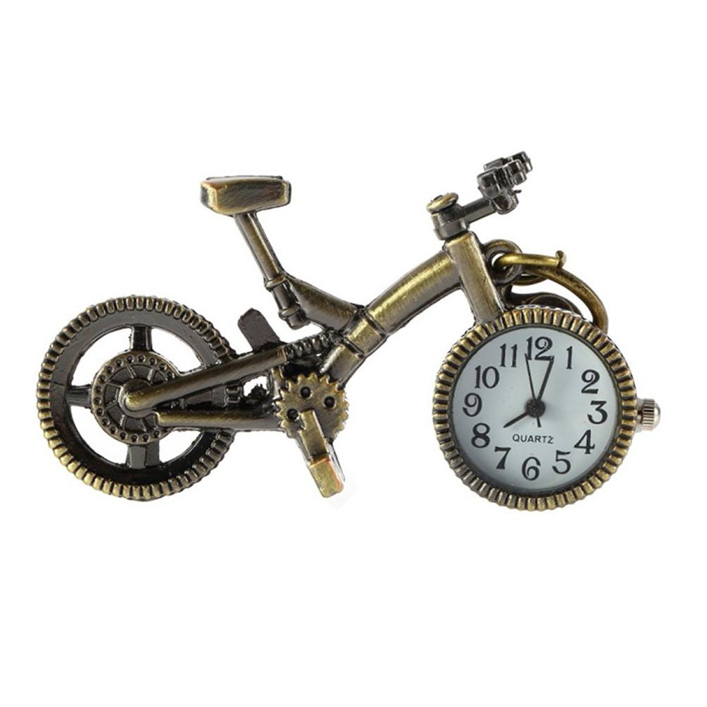 Vintage Bronze Bike Keychain Quartz Pocket Pendant Keychain Gift NEW