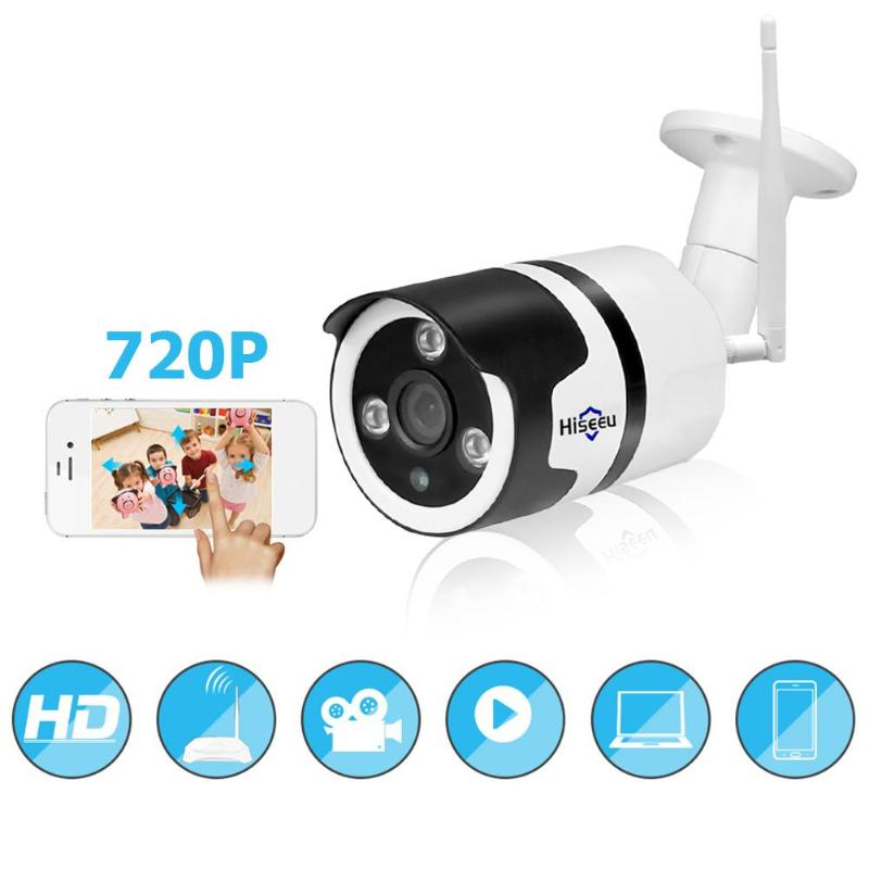 Hiseeu wifi outdoor IP camera 1080P 720P waterproof 2.0MP wireless security camera metal two way audio TF card record P2P bullet-in Surveillance Cameras from Security & Protection