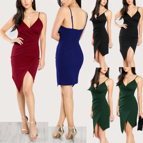 Women Girls Irregular Spaghetti Strap Dress Bodycon Sexy V-Neck Long Sleeve dress Evening Party Summer Causal Solid Dresses XXL image